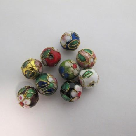 50 perles Cloissonée rond 12mm