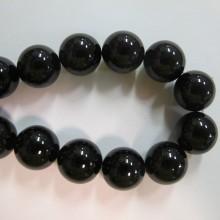 agate noire ronde- Fil de 40 Centimetres