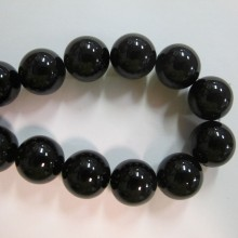 Round black agate - Thread of 40cm