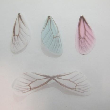 10 Pendentif ailes de papillon en tissu organza 41x21mm avec 2 trous