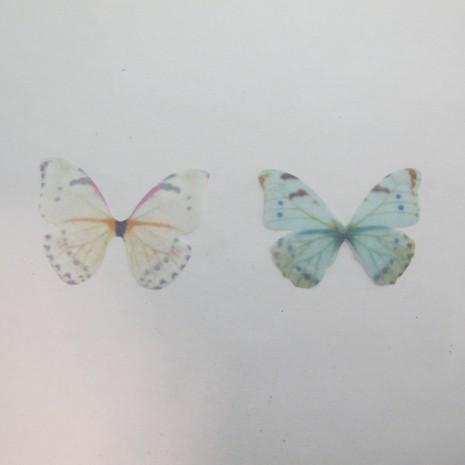 10 Pendentif papillon en tissu organza 38x29mm sans trou