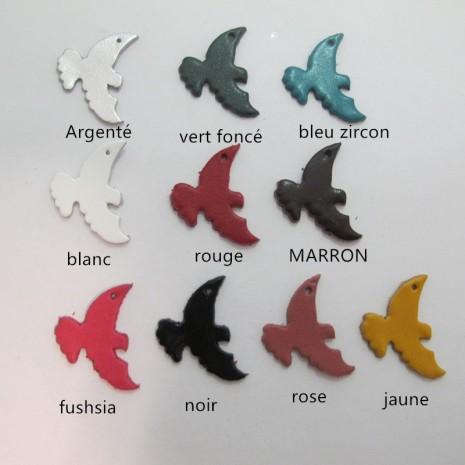 10 pendentif pigeons en cuir 31x22mm