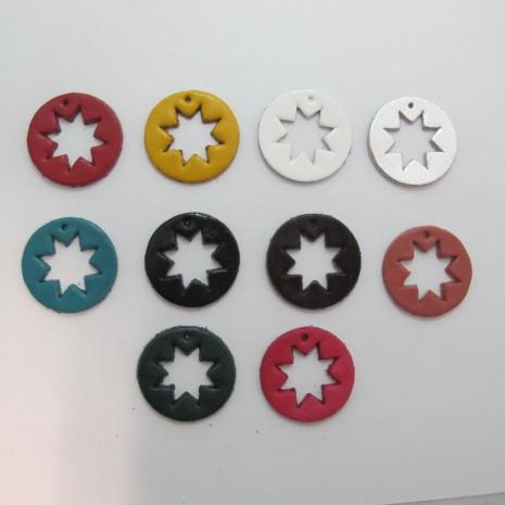 10 pendentif rond en cuir 28mm