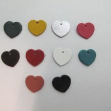 10 pendentif coeur en cuir 20x18mm