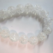 cristal de roche ronde- Fil de 40 Centimetres