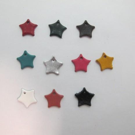 10 pendentif étoils en cuir 16mm