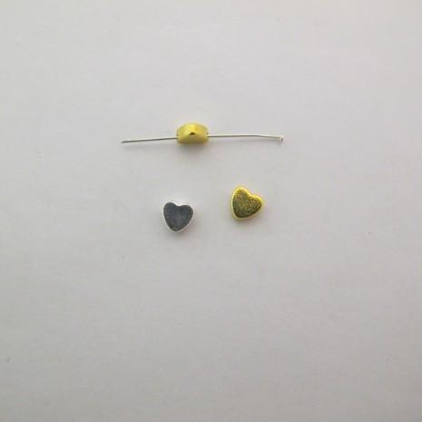 50 Perles coeur en laiton trou transversal 6x6x3mm