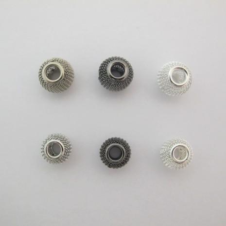 20 perles Métal 14mm/12mm trou 5mm