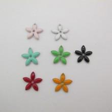 10 Sequins fleur émaillés double face 15mm