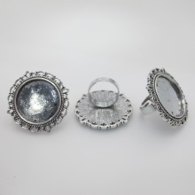 10 Metal ring holders for 25mm round cabochons