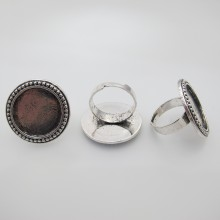 10 Metal ring holders for 20mm round cabochons