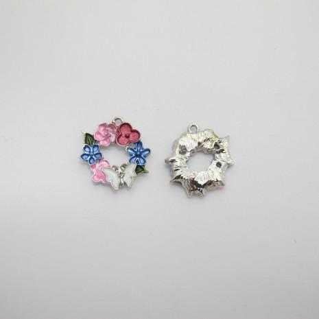 10 Pendentifs/breloques fleur en métal 23mm