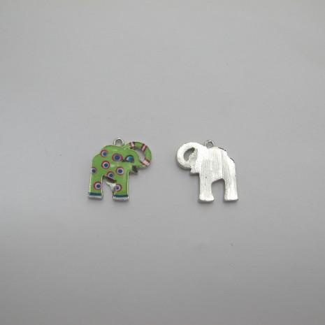 10 Pendentifs/breloques éléphant en métal 20x19mm