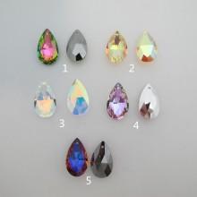 6 pcs pendentifs goutte 28x17mm en verre