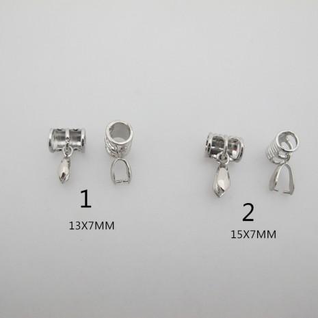 10 pendentifs bélières Tubes pour cordans 6mm