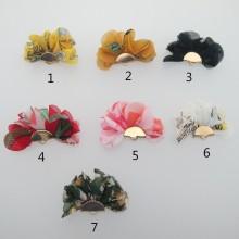 20 Pompons En Tissus fleur 35x25mm