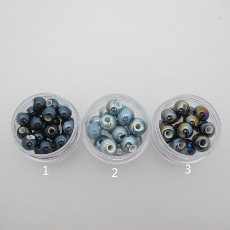 50 perles rondes en Céramique 8mm