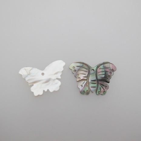 10 pendentif papillon nacre 30x19mm