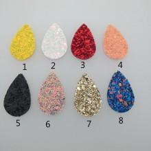 20 pendentif goutte simili-cuir 40x35mm