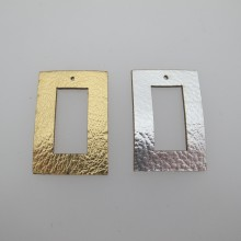 10 pendentif rectangulaire simili-cuir 41x27mm