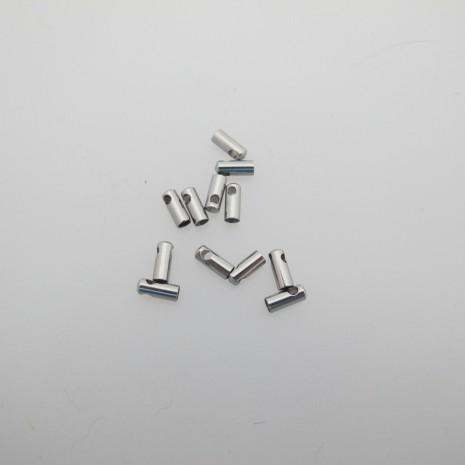 100 Embouts pour cordon 2mm  Acier inox 7x3mm