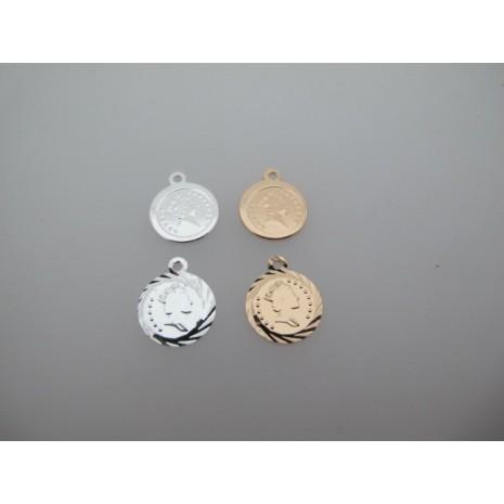 10 pcs Pendentif médaillon ronde 12x15mm