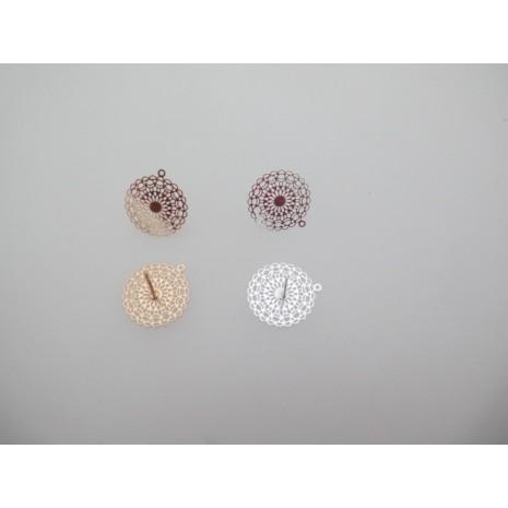 20 Pieces Boucle D'oreille tiges filigrane ronde 16mm