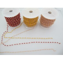 1 METER OF BRASS CHAIN FACETED BEAD 3MM