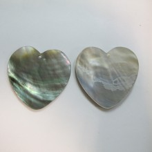 10 coeur Nacre grise 45x45mm
