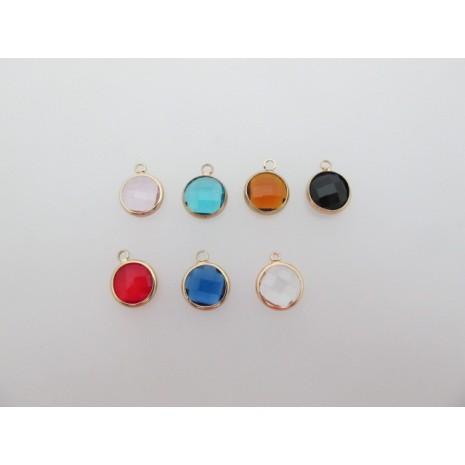 10 pcs pendentif ronde sertis 12x16mm
