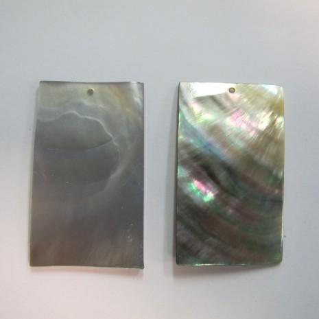 10 rectangulaire Nacre grise 50x30mm