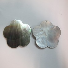 10 Grey mother of pearl flowers 53mm