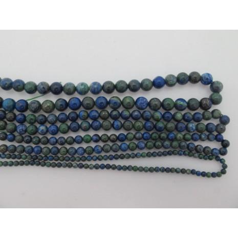 azurite malachite ronde- Fil de 40 Centimetres