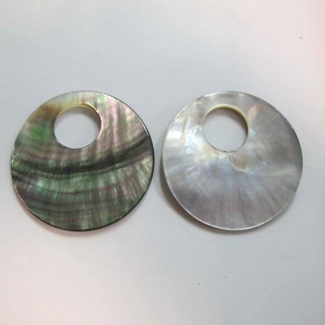 10 Nacre grise ronde grand trou 45mm