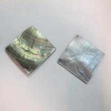 10 carré Nacre grise 40x40mm