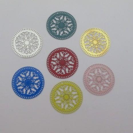 30 estampes filigrane ronde 25mm