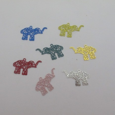 60 estampes filigrane éléphant 20x12mm