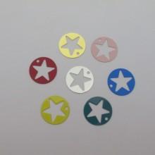 50 Stamps round star filigree 18mm