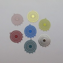 40 Round filigree stamps 5 hole 22x18mm