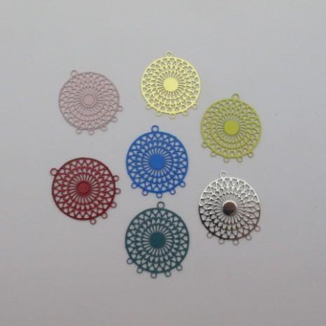 40 estampes filigrane ronde 5 trou 22x18mm