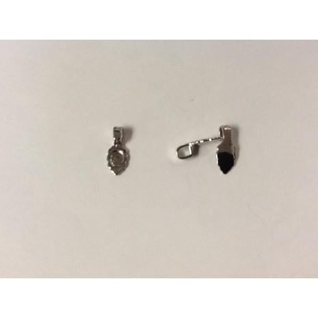 Attaches pendentifs à coller argenté 7x17mm