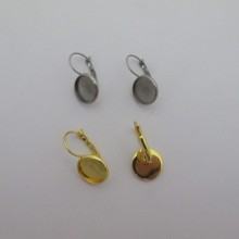 20 Pieces Stainless Steel Dome Earring With Rim For Cabochon 12mm