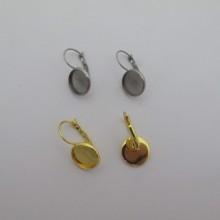 20 Pieces Boucle D'oreille Domeuses À Rebord Pour Cabochon 12mm acier inox