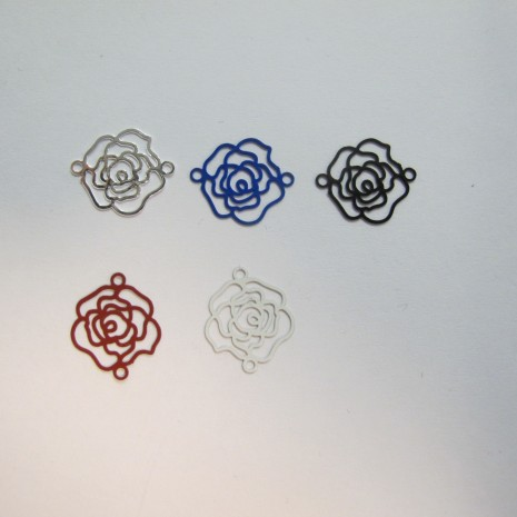50 EStampes rose laser cut 16x13mm