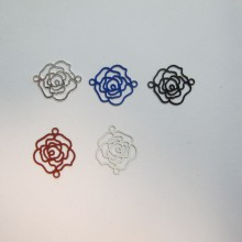 100 EStampes rose laser cut 16x13mm