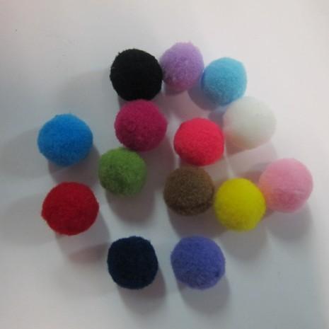 50 Mélange de pompons en textile 15mm