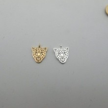 """10 pcs Gold plated Pendant """"Panther head"""" 15x12mm"""
