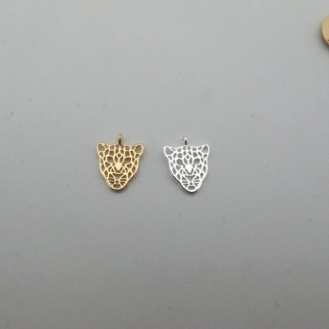 """10 pcs pendentif """"tête de léopard"""" 15x12mm"""