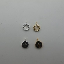 10 pcs Gold plated Pendant round strass 8mm
