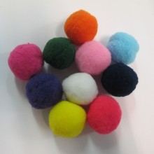 20 Mixed textile pompons 30mm